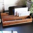 Lisa Angel Personalised Engraved Wooden Desk Organiser
