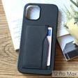 Black Vegan Leather iPhone 12 Pro Max Case and Cardholder