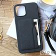 Black Vegan Leather iPhone 12/21 Pro Case and Cardholder