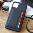 Black Vegan Leather iPhone 11 Case and Cardholder
