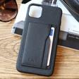 Lisa Angel Black Vegan Leather iPhone Case and Cardholder