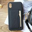Black Vegan Leather iPhone XR Case and Cardholder