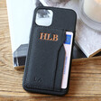 Lisa Angel Personalised Metallic Initials Black Vegan Leather iPhone Case