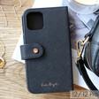 Lisa Angel Black Vegan Leather iPhone 12 Pro Wallet Case
