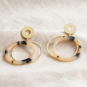 Tortoiseshell Double Hoop Drop Earrings in Gold