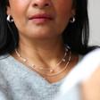 Wide Irregular Shape Hoop Earrings in Silver on Model