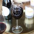 Lisa Angel Engraved Personalised Vintage Swirls Wine Glass