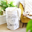 Blanket Filled Personalised Cosy Night Round Marble Effect Storage Sack