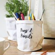 Personalised Round Marble Paper Plant Pot as a Pen and Pencil Pot