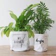 Examples Of Two Fonts For Personalised Round Marble Paper Plant Pot, H18/20cm