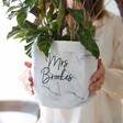 Printed Personalised Round Marble Paper Plant Pot