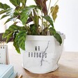 Small White and Grey Personalised Round Marble Paper Plant Pot