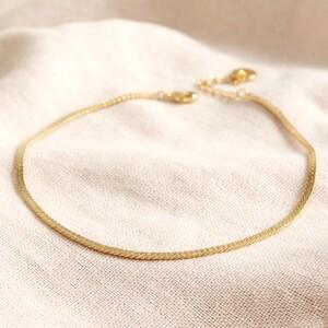 Flat Herringbone Chain Anklet in Gold