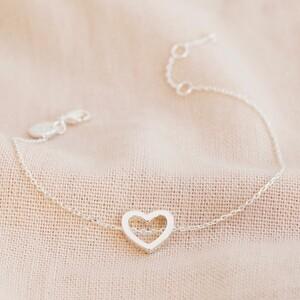 Delicate Open Heart Bracelet in Silver