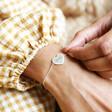 Model Wearing Lisa Angel Diamante Heart Bracelet in Silver on Model