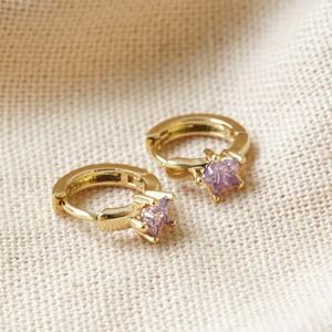 Crystal Purple Star Huggie Hoops in Gold