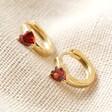 Crystal Red Heart Huggie Hoops in Gold