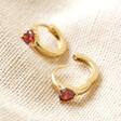 Open Crystal Red Heart Huggie Hoops in Gold