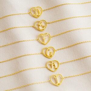 Gold Heart Initial Bracelet - A