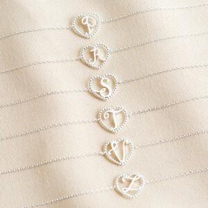 Silver Heart Initial Bracelet - A