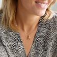 Female Model Wearing Cute Gold Dancing Teddy Bear Pendant Necklace