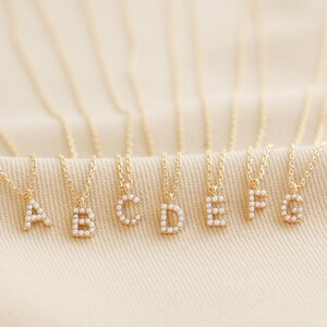 Tiny Pearl Initial Charm Necklace in Gold - D