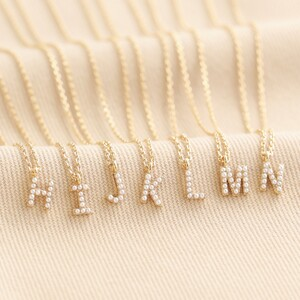Tiny Pearl Initial Charm Necklace in Gold - H