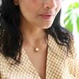 Model Wearing Ladies' Personalised 50th Birthday Pressed Birth Flower Pendant Necklace