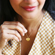 Model Wearing Lisa Angel Gold Personalised Scalloped Edge Heart Necklace
