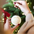 Hand-Painted 'Winter Wishes' Gold Wreath Bauble