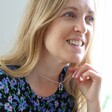 Model Wears Ladies' Lisa Angel Short Silver Hug Hands Pendant Necklace
