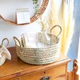 Large Round Open Weave Basket with Handles Large Round Open Weave Basket