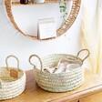 Medium Round Open Weave Basket with Handles
