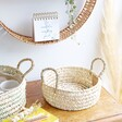 Round Open Weave Basket with Handles