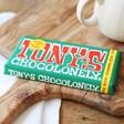 Front of Tony's Chocolonely Milk Chocolate and Hazelnut Bar