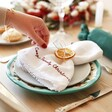 Christmas Table with Personalised Embroidered White Linen Napkin