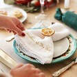 Personalised Embroidered White Linen Napkin with Gold Thread