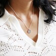 Model Wearing Personalised Pet Photo Sterling Silver Disc Necklace