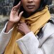 Model Wears Personalised Embroidered Birth Flower Lightweight Winter Scarf