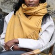 Personalised Embroidered Birth Flower Lightweight Winter Scarf with Model