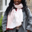 Model Wearing Personalised Pink and Burgundy Colour Block Recycled Scarf personalised with 1995