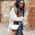 Lisa Angel Personalised Vegan Leather Half Moon Crossbody Bag on Model
