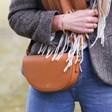 Model Wearing Personalised Vegan Leather Half Moon Crossbody Bag