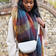 Lisa Angel Vegan Leather Half Moon Crossbody Bag in Light Grey on Model