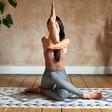 Model in Sitting Yoga Pose with Berber Mat