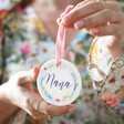 Lisa Angel Floral 'Nana' Wreath Ceramic Hanging Decoration