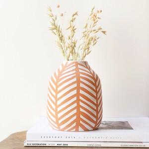 Chevron Glazed Vase, H16cm