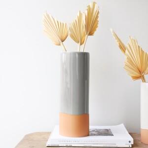 Tall Grey Glaze Dipped Vase, H30cm