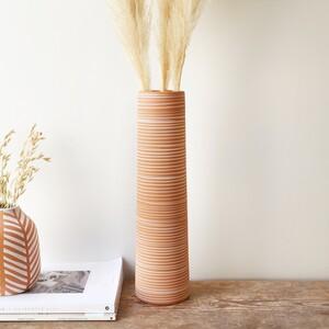 Tall Striped Stoneware Vase, H22cm