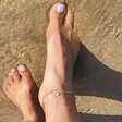 Opal Turtle Charm Anklet in Gold on Model